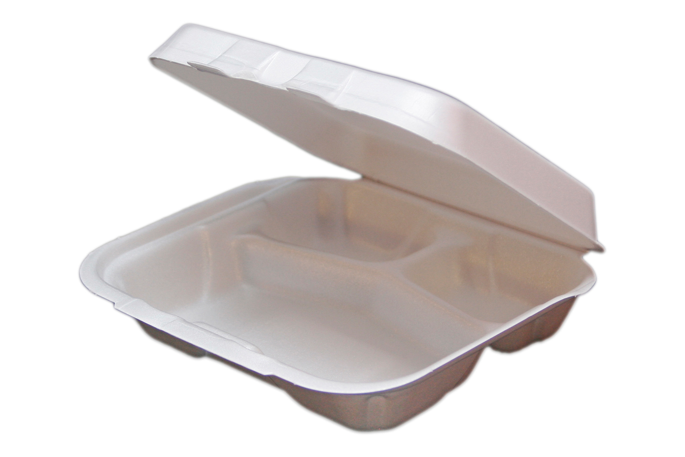 White non-vented double tab hinged foam takeout disposable container with 3 compartments