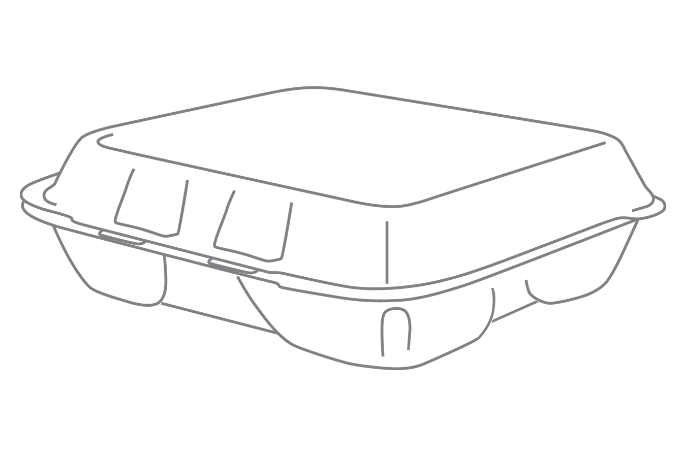 Line art illustration of white non-vented hinged foam takeout disposable container