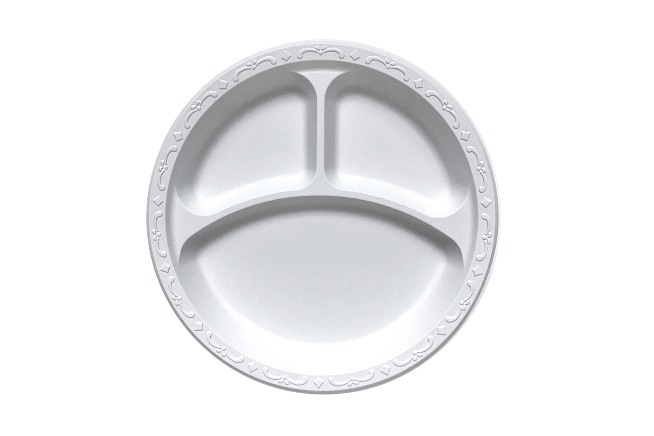 Ivory Polypropylene PP Plastic round 9 inches pebble box plate with 3 compartments