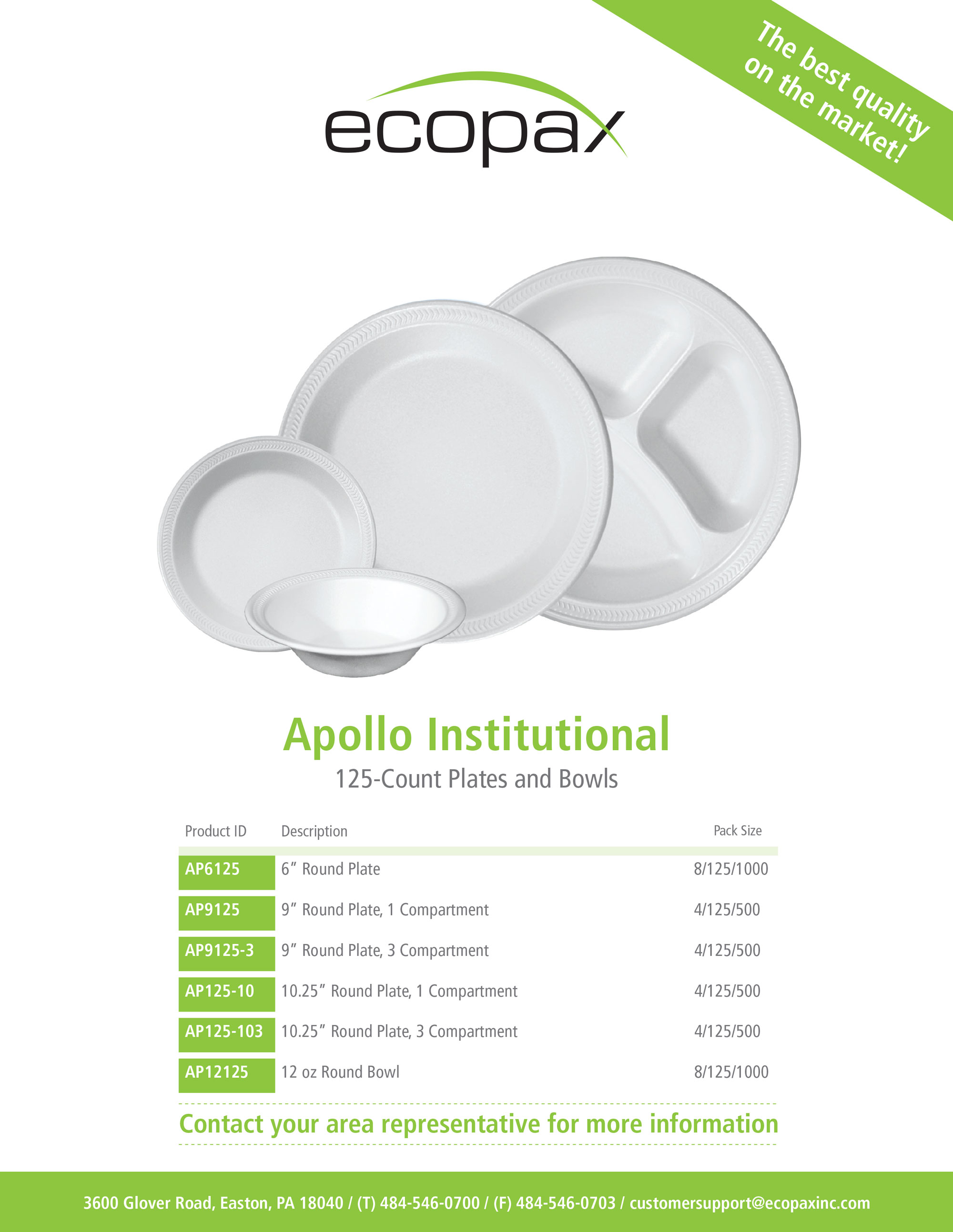Ecopax Apollo foam plates and bowl sale sheet cover with product specifications and details