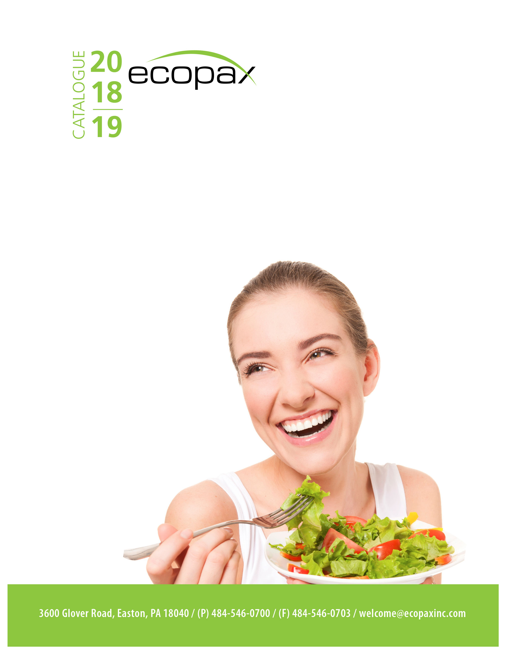 Ecopax Product catalogue cover featuring a joyful young woman eating a healthy plate of salade using Ecopax's disposable foam plate
