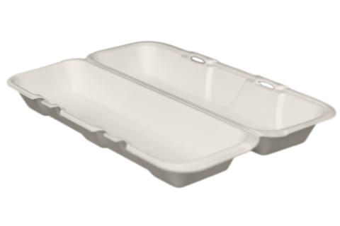 Regal brand white non-vented hinged foam takeout disposable hoagie container for hot dog