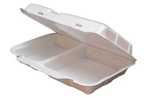 White non-vented double tab hinged foam takeout disposable container with 2 compartments