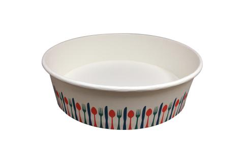 Stock print spoon fork knif color takeout container 32 oz size Athena paper bowl by Ecoapx Inc