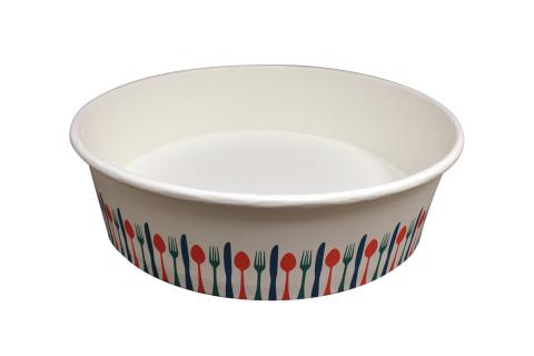 Stock print spoon fork knif color takeout container 48 oz size Athena paper bowl by Ecoapx Inc