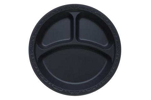 Black Polypropylene PP Plastic round 10 inches pebble box plate with 3 compartments