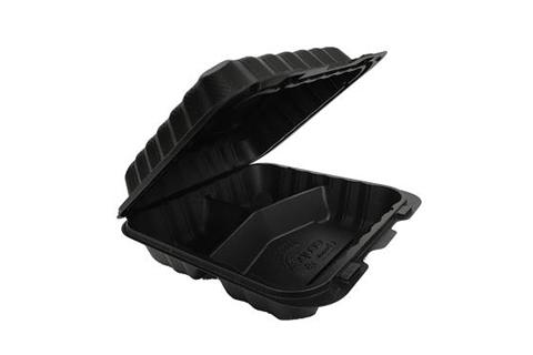 Black Polypropylene PP Plastic Pebble Box 8 inches hinged container with 3 compartments