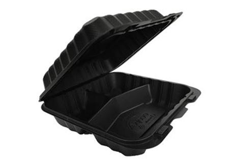 Black Polypropylene PP Plastic Pebble Box 9 inches hinged container with 3 compartments