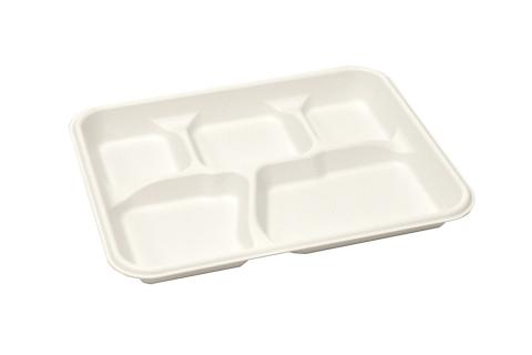Ivory Polypropylene PP Plastic Pebble Box School Tray with 5 compartments