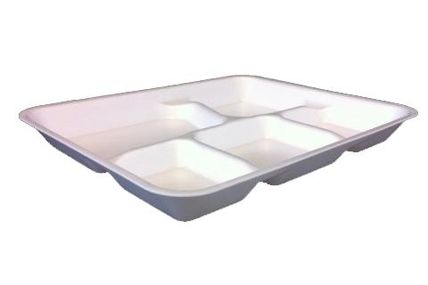 White foam school lunch tray with 5 compartments